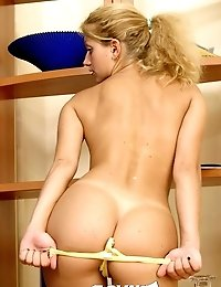 Ponytailed blondie Slovak teen spreading her bubble butt