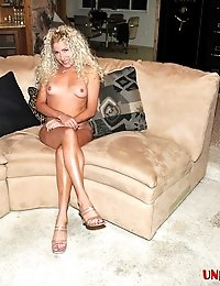 Curly haired blonde exgirlfriend babe Audrey showing small tits and shaved pussy