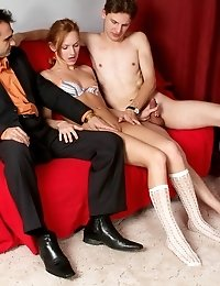 Two Handsome Guys With Large Piped Penises Getting Ready To Drill This Delicious Barely-legal Babe A
