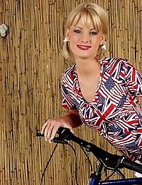 Cutie blonde girlfriend with pigtails getting nasty on a bike