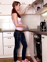 Sexy ten fucked and creampied in the kitchen