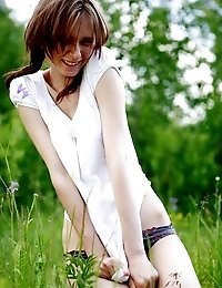Timid Teen Girl Comes To The Nature And Poses Her Beautiful Body In Front Of The Camera.