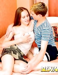 Brown haired Slovak teen getting massive melons screwed by a fat dick