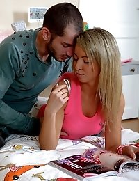 Tempting blonde European teen chick Ricarda gives oral sex and gets pink snatch screwed by a giant prick