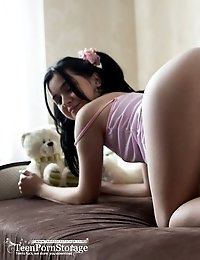This Pale Cutie Is Having Some Fine Fun In Her Bedroom Where She Freely Embraces All Her Sweet Curve