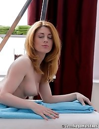 Stunning redhead banged by her masseur all styles
