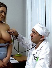Teen with great boobs gets her pussy fucked by huge doctor's pecker