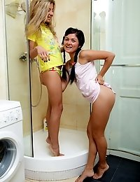 Lesbian teens go wet and wild in the shower