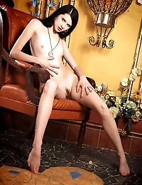 Dainty Incredible Long-haired Brunette Is Demonstrating Killing Striptease In A Restaurant Near A Hi