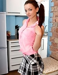 This Flawless Teen Strips Her Top And Tiny Skirt To Serve An Incredible Slice Of Pussy Salad To Ever