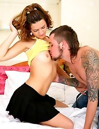Teen cutie twists her hot nipples while getting banged