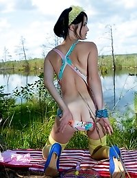 Stunning Skinny Teen Plays Around With Her Body On The Lap Of Nature With The Blue Sky Complimenting