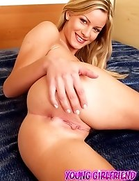 Over sexed blonde girlfriend spreading her fuckable round ass