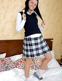 Sweet babe in school uniform is open for new sex-adventures