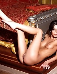 Elegant Teenage Beauty Showing Off Her Amazing Naked Slim Body In A Sumptuous Bedroom.